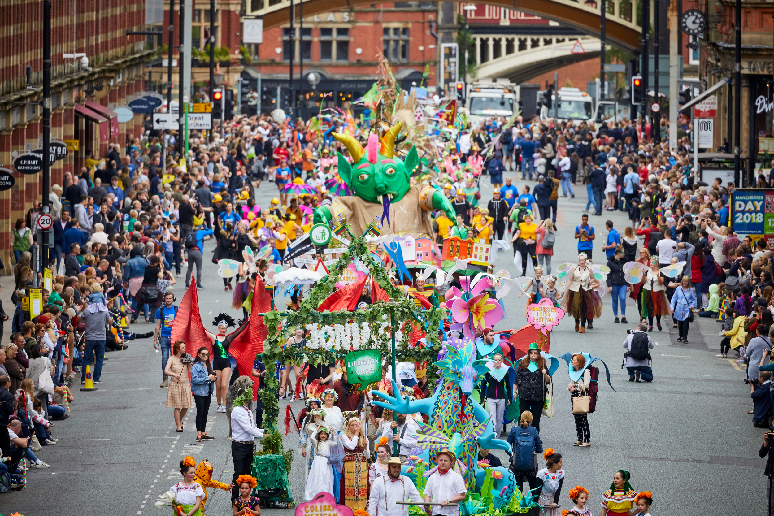 The ninth Manchester Day 2018 parade celebrating the theme: Word on the Street!